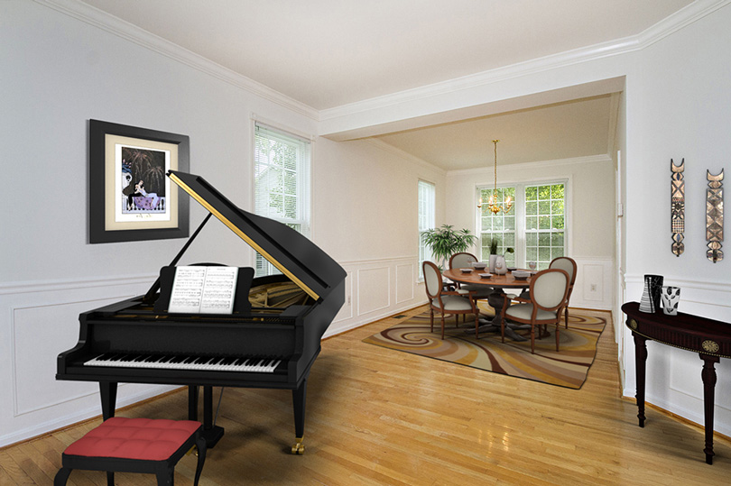 virtual staging of Columbia MD living and dining room